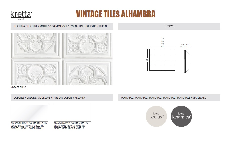 ALHAMBRA - COLOURS & SIZES