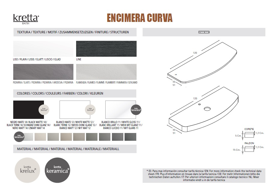 CURVED COUNTERTOP - TEXTURES, COLOURS & SIZES