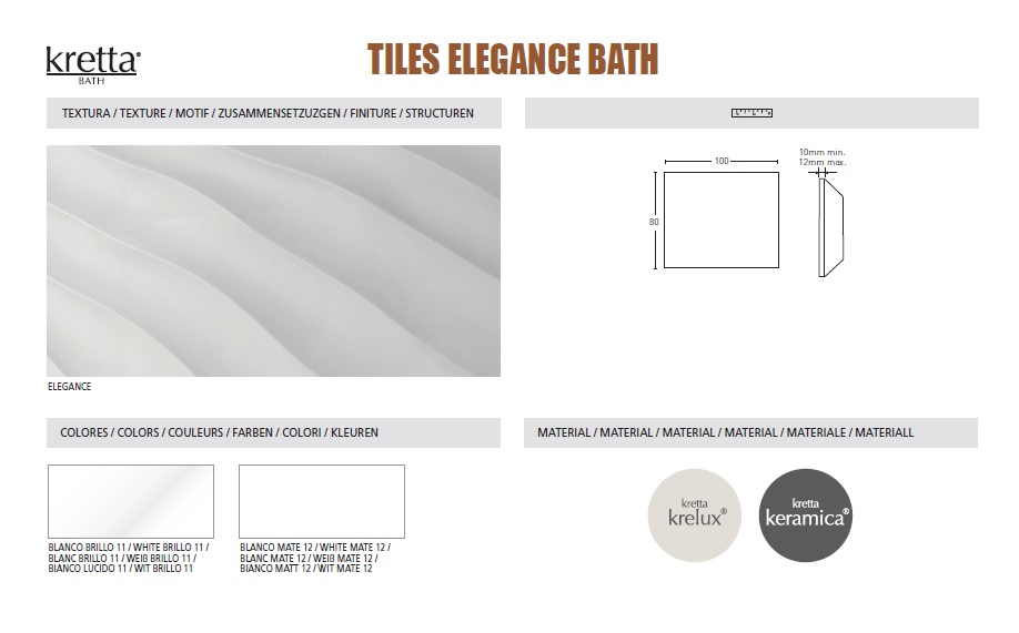 ELEGANCE TILES - COLOURS & SIZES